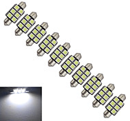 JIAWEN® 10pcs Festoon 36mm 1.5W 6x5050SMD 100-150LM 6000-6500K Cool White Light LED Car Light (DC 12V)