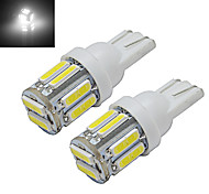 JIAWEN® 2pcs T10 3W 10X7020SMD 210LM 6000-6500K Cool White LED Car Light (DC 12V)