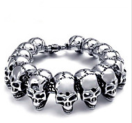 L:22CM W:2.4CM Fashion Stainless Steel 316L Silver Skull Skeleton Men Punk Cool Bracelet