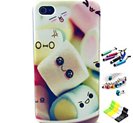 Cotton Candy Pattern with Stylus ,Anti-Dust Plug and Stand TPU Soft Case for iPhone 4/4S
