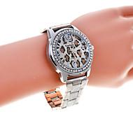 leopardo strass prata dail relógio banda liga de quartzo de unisex