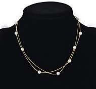 Fashion Women 2 Rows Pearl Chain Necklace