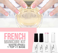 Azure 4Pcs/Lot Soak Off Nail Gel French Manicure Nail Polish(12ml, Pink+White+Base+Top)