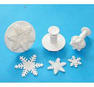 FOUR-C Excellent Snowflake Sugarcraft Fondant Cake Decorating Plunger Cutters,Christmas Theme Cake Tools Set