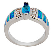 High Quality Fashion Water Blue Opal Two Claw Ring
