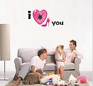 Fashion 3D DIY Loving Heart Clock Wall Sticker(1x AA Battery)