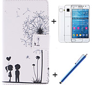 Lover and Dandelion Pattern PU Leather Full Body Case with Film and Capacitance Pen for Samsung Galaxy Grand Prime G530H
