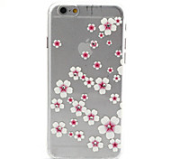 Pink Flower Pattern TPU Diamond Relief Back Cover Case for iPhone 6