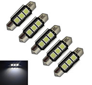 JIAWEN® 5pcs Festoon 36mm 1W 3x5050SMD 60-70LM 6000-6500K Cool White Light LED Car Light (DC 12V)