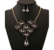 Alloy Gold Plated With Cubic Zirconia Fashion Jewelry Sets (Including Necklace,Earrings)