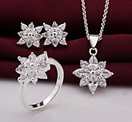 Silver Jewelry,Silver Fashion Jewelry Crystal Snowflake Necklace&Earrings&Ring Jewelry Sets For Women SS747