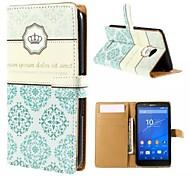 couronne et fleur totem motif portefeuille Card Case PU avec support pour sony e4