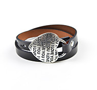 Classic 41cm Heart Metal Buckle Leather Wrap Bracelet