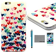 COCO FUN® Colorful Heart Pattern Soft TPU Back Case Cover with Screen Protector and Stylus for iPhone 6