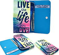 Live Life Love Leather Wallet style Full Body Case and Card Slot for Samsung Mobile Size<13.8*7.6*2.1