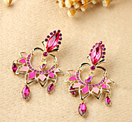 Luxury Full of Gem Crystal Pink Earrings(1 pair)