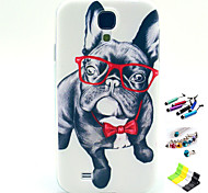 teste padrão do cão dos olhos com caneta, ficha anti-poeira e ficar TPU macio para Samsung S4 mini-i9190