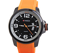 Man's Quartz Wrist Watch Round Dial Fashion Silicone Strap With Calendar (Assorted Colors)