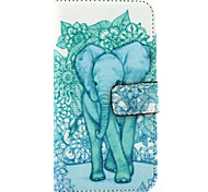 Blue Elephant Pattern PU Leather Full Body Case with Stand and Card Slot for Samsung Galaxy E7/E700