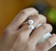 Fashion Women Pearl Open Adjustbale Ring
