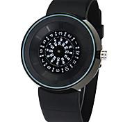 Montre cadran rond montre décontracté pu bracelet montre à quartz mode poignet des hommes (couleurs assorties)