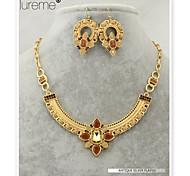 lureme® alliage de mode punk forme géométrique pendants d'oreilles collier ensemble
