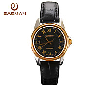 EASMAN Women's Sapphire Dial Shape Vintage Black Genuine Leather Japan Movement Quartz Watch Wristwatch