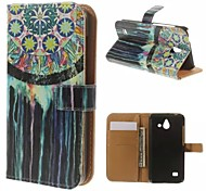 Colorful Murals Pattern Wallet Card PU Case with Stand for Huawei Ascend Y550