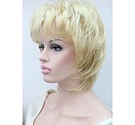 """новые пушистые волны короткие 14 """"женские парики золотой блондин смесь синтетических волос полный парик"""