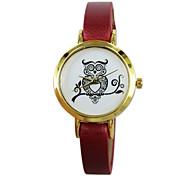 Women's Watch Fashion Flower Style Quartz Wristwatch PU Band Material