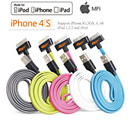 Assorted Colors Apple MFi Certified 30pin to USB Data Sync Charger Flat Cable for iphone 4/4s/ipad 3/2/1/ipod(100cm)