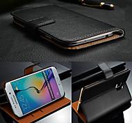 Fitnessraum echtem Leder mit Kartenbeutel Ganzkörper Fall für Samsung-Galaxie s6 Rand g9250 (farblich sortiert)