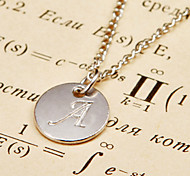 Fashion Letter Drop Silver Alloy Pendant Necklace(1 Pc)