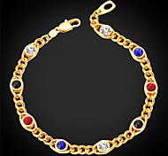 U7® Multicolor Chain Bracelet 18K Real Gold Plated Fashion Jewelry Colorful Rhinestone Charm Bracelet