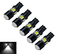 JIAWEN® 5pcs T10 3W 5X5050SMD 250-280LM 6000-6500K Cool White  LED Car Light (DC 12V)