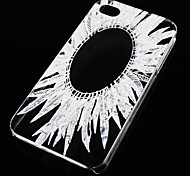 Feather Pattern Transparent Back Case for iPhone4/4S