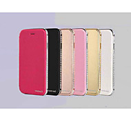 cuir de haute qualité et de la conception du cadre de diamants entourant pour iPhone 6 (couleurs assorties)