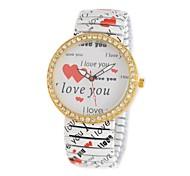 Women's European LOVE YOU Print Quartz Analog Flower Wristwatch