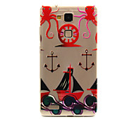 Anchors Pattern Embossed Painted Thin TPU Case for Huawei Mate 7