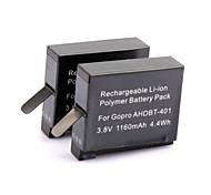 2 401 baterías de 1160mah viajar establecen para Hero GoPro 4 g-771