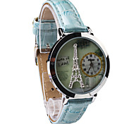 Women's Fashion Personality Pattern Design Circular Dial PU Leather Strap Quartz Movement Wrist Watches(Assorted Colors)