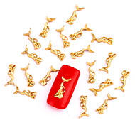10PCS Gold Nail Art Jewelry Mermaid Fairy Aryclic Nail Tips Decorations Nail Art Glitters for Nails