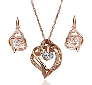 Arinna Fashion Jewelry Set Women 18k Rose Gold Plated  2 heart clear crystal Necklace & Earrings Gift Set G1363