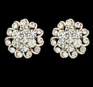 2015 New Style White Round Rhinestone Cheap Clip-on Earrings