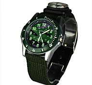 Men's Military Style Compass Fuction Green Fabric Band Round Dial Analog Wrist Watch
