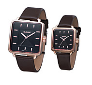Couple's Business Style Square Case Leather Band Quartz Wrist Watch (Assorted Colors)