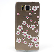 Peach Blossom Flower Pattern TPU Diamond Relief Back Cover Case for Samsung Galaxy Alpha G850 G8508 G850F