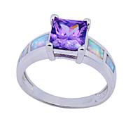 High Quality Fashion Qlatinum Opal Square Purple Opal Ring