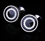 Fashion Copper Men Jewelry Silver Round Crystal CZ Delicate Button Cufflinks(1Pair)