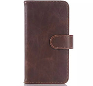 Solid Three-Pages Card Inserted Real Leather Case with Stand for Samsung S6 Edge (Assorted Colors)